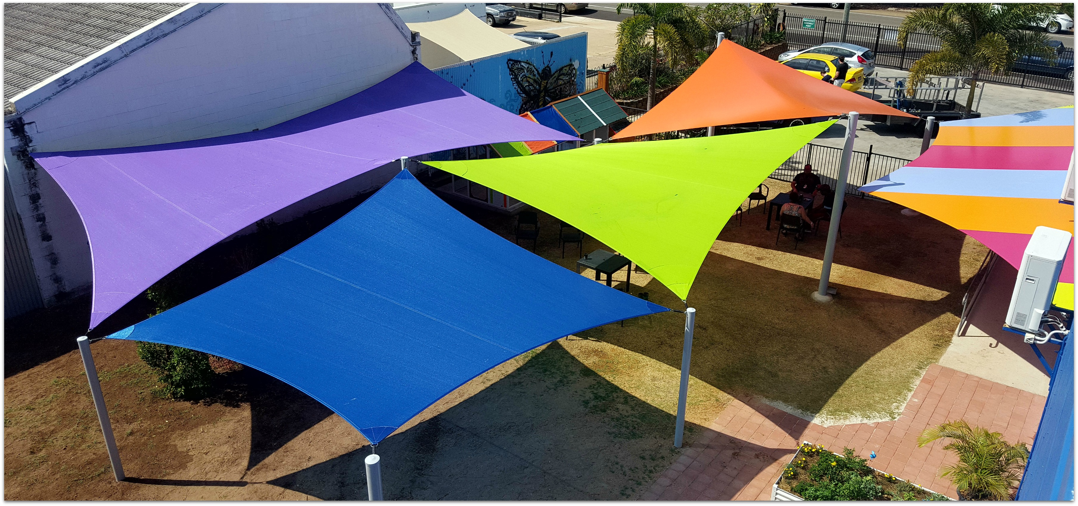 Maximum Exposure with Multi-Coloured Shade Sails.